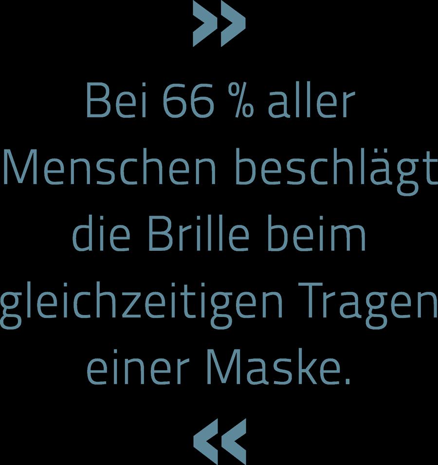» Bei 66 % aller Menschen beschlägt die Brille beim gleichzeitigen Tragen einer Maske. «